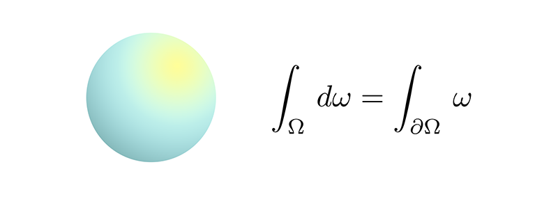 A sphere and the generalized Stokes Theorem. Click to learn more.